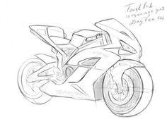 как нарисовать мотоцикл Хонда карандашом