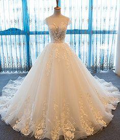 Ivory scoop neck, lace sweep train wedding dresses,Elegant white tulle ,long customize evening dress ,long wedding dress, Prom Dresses 2018,new fashion,custom made