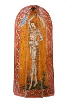 A BOHEMIAN PAVISE SHIELD used in battle, ZWICKAU, circa 1480