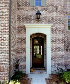 Exterior brick, messy mortar and gutters ~mhi. San Luis No Orange M White Mortar Flush Cut Technique View C Acme Brick, House Design, Brick Exterior House, House Exterior, Building A House, Brick, Exterior Stone, Red Brick Exteriors, Rustic House