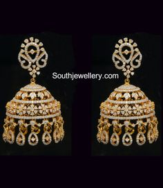 Looking for gold and diamond jewellery? Vummidi has the best collection of diamond rings, diamond earrings and gold jewellery, handcrafted to perfection. Diamond Jhumkas, Gold Jhumka Earrings, Jewelry Design Earrings, Gold Earrings Designs, Gold Jewellery Design, Diamond Earrings, Gold Designs, Diamond Necklaces, Gold Necklaces