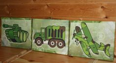 Set of 3 Camo Army Military Boys  8x10 Stretched Canvases Girls Bedroom CANVAS Bedroom Wall Art. $60.00, via Etsy.