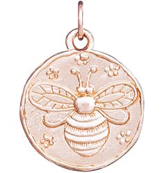 14K Pink Gold Bee Coin Charm
