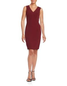 Adrianna Papell Sleeveless V-Neck Sheath Dress Women's Blackcherry 4