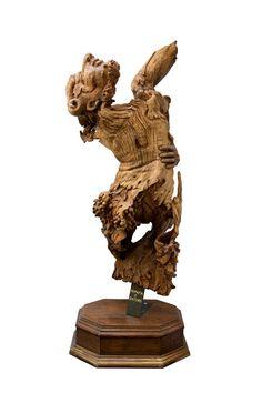 Ninfa e Satiro - Enrica Barozzi's art - wood sculpture - cm 158x63