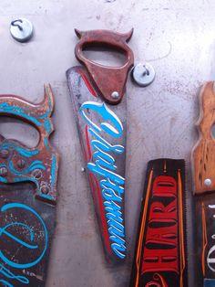 custom paint on antique handSaws by Kenji Nakayama