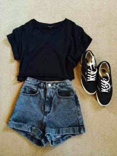 Casual attire- denim High waisted shorts, black top, vintage hipster trainers, High waisted shorts with a dark blue wash Casual Outfits, Fashion Outfits, Womens Fashion, Basic Outfits, Fashion Ideas, Vans Fashion, Rock Fashion, Short Outfits, Party Outfit Casual