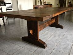 Harvest Dining Tables Trestle Pedestal Barn Beam Trestle Live Edge X Leg Dinning Room Tables, Trestle Dining Tables, Wooden Tables, A Table, Dining Rooms, Kitchen Tables, Rustic Table, Farmhouse Table, Cool Tables