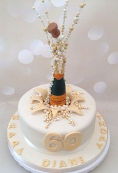 Popping champagne corks birthday c.ake - Cake by Yvonne Beesley 60th Birthday Cake For Ladies, Special Birthday Cakes, Birthday Cake Pops, 21st Birthday Cakes, Champagne Birthday, Champagne Cake, Prosecco Cake, 18th Cake, Bottle Cake