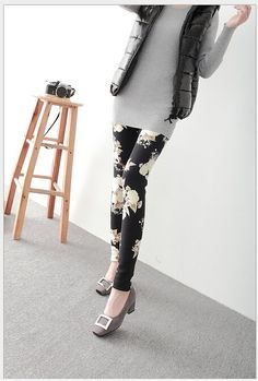 Winter Fleece Lined Leggings Warm Patterned Printed Black Milk Soft and Spandex for Female Thermal Leggins for Women