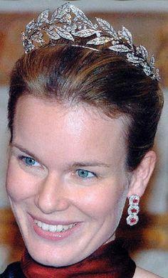 Crown Princess Mathilde of Belgium wearing the Laurel Wreath Tiara