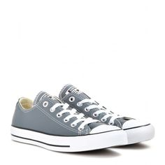 Converse All Star Low Chuck Taylor Leather Sneakers ($66) ❤ liked on Polyvore featuring shoes, sneakers, converse, sapatos, grey, grey sneakers, genuine leather shoes, converse trainers, low sneakers and grey leather shoes