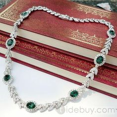 Leaf Shaped Alloy Necklace with Emerald