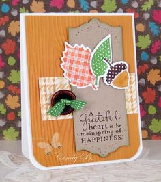 A happy fall card by Cindy. She used Wonderfall, Pursuit of Happiness, Autumn Accents die, Apothecary Accents framelits, & Woodgrain embossing folder.