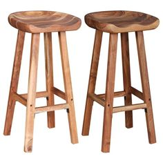 This set of wooden bar stools has a simple, yet timeless design, and will suit a wide variety of settings, such as homes, offices, bars and cafes. The stools are made of high-quality acacia wood, a tropical hardwood, which is weather-resistant and very durable. The natural matte-finished surface is easy to clean with a damp cloth. This stool set is handmade, and the craftsmanship adds to its spectacular retro style. Every step of the process is carried out with the greatest care, be it polishing High Bar Stools, Wooden Bar Stools, Wooden Stool Designs, Unique Bar Stools, Wood Counter Stools, Home And Garden Store, Chaise Bar, Love Your Home, Style Retro