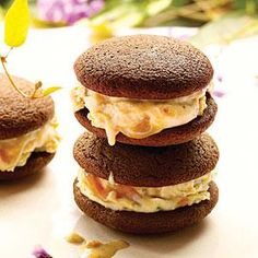Peanut-Butter Chocolate Ice Cream Sandwiches |These soft, yielding cookies have a double dose of chocolate. They're the perfect foil for rich, gooey Salted Caramel Peanut-Butter Ice Cream ice cream. MyRecipes.com