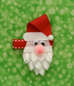 Santa Christmas Hair Clip by TwoSisterBugs on Etsy, $4.50-cute beard