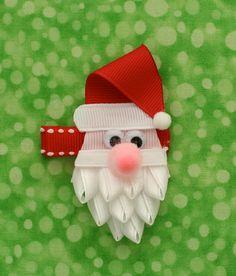 Santa Christmas Hair Clip by TwoSisterBugs on Etsy, $4.50-cute beard