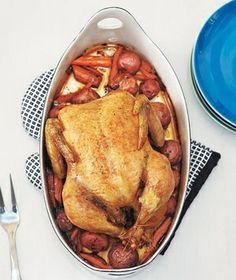 Roast Chicken and Vegetables There's nothing better than a roast chicken on a Sunday night. This version is simply yet deliciously flavored with lemon and fresh thyme. Carrots and potatoes roasted in the same pan as the chicken round out the meal..