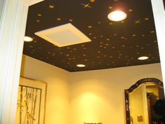 Painted stars on the ceiling in the bathroom adds wonders. Cherry Apple, Wall Lights, Cottage, Ceiling, Stars, Bathroom, Painting, Home Decor, Washroom