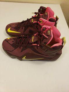buy popular 48ba4 1dbee NIKE Lebron XII 12 Merlot Crimson Wine Raspberry Pink GS Sneakers 7Y 68518   fashion