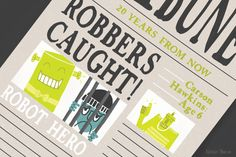Robot hero, robbers caught. Illustration by Natalie Marion for 826michigan featured monthly student writing.