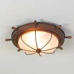 Captain's Ceiling Light Available in 2 Colors: Copper Bronze, Brass with…