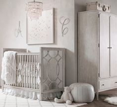 Standout pieces in this elegant space include the Vienne Crib ($949-$1,249), with its glam mirrored sides, and the light-catching Soho Crystal Chandlier ($399).