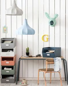 Love this kids study area with a touch of colour