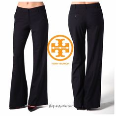"Gorgeous Tory Burch 'Felice' black wide leg pants Beautiful black Tory Burch light weight all season wool/spandex pants have two side slant hip pockets, logo button welt back pockets and flattering flat front with gold zipper and tab closure. 31"" inseam, midrise and wider leg opening. Freshly cleaned/pressed from the dry cleaners. Excellent condition. Gorgeous! Retailed at $295. If this is your first time shopping my closet, please read my 'about me and my closet' listing prior to any…"