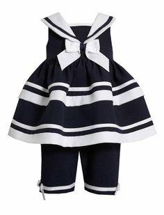 Bonnie jean toddler girls 2t 4t navy white stripe sailor nautical