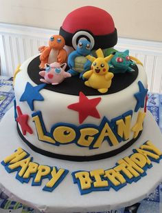 My first Pokemon cake First Pokemon, Pokemon Party, Birthday Cake, Desserts, Meet, Birthday, Tailgate Desserts, Birthday Cakes, Dessert