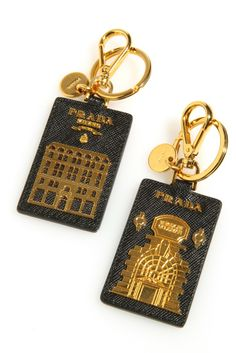 Prada's leather key chains for Bergdorf Goodman.