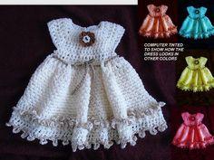 (4) Name: 'Crocheting : 772 DOUBLE FRILL GIRL'S CROCHET DRESS
