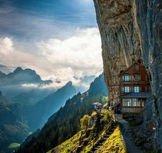 Berggasthaus Aescher - a guest house/restaurant in Switzerland. You can hike up and stay the night if you want.
