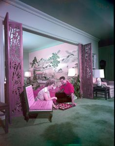 Tony Duquette (of Coach) and his mid-century chinoiserie room. vintage vintage vintage
