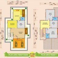 Pelan lantai rumah banglo 2 tingkat My House Plans, Floor Plans, How To Plan, Floor Plan Drawing, House Floor Plans