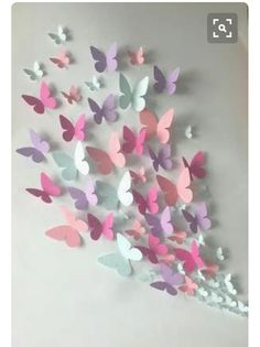 Butterfly Wall Art, Paper Flower Wall, Paper Butterflies, Butterfly Crafts, Flower Wall Decor, Paper Flowers, Diy Butterfly Decorations, Cute Diy Room Decor, Teen Room Decor