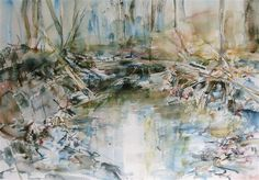 impressionism art,landscape art,nature art, watercolor painting, Chase's Run in Winter