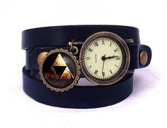 Leather watch bracelet - ZELDA TRIFORCE, 0531WDBC  from EgginEgg by DaWanda.com