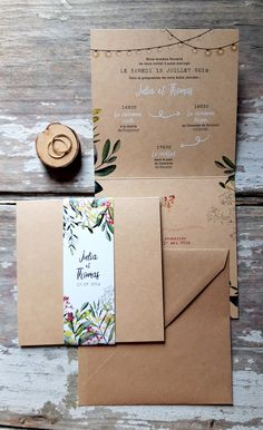 faire part kraft chic végétaux et fleurs FREE and non-binding customization of this model of KRAFT CHIC wedding announcement in real kraft paper on pastillesetpetits . - Nantes workshop for creation