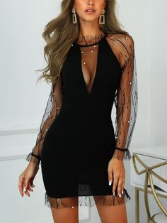 Women's Fashion Bodycon Kleider Online Shopping – Chic Me Trend Fashion, Fashion Outfits, Womens Fashion, Party Fashion, Runway Fashion, Fashion Shoes, Sheer Dress, Bodycon Dress, Mesh Dress