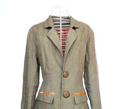 women's khaki linen jacket / blazer size medium by fairlyworn, $130.00