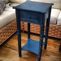 Hand painted distressed table by Let's Run Away to the Circus. Painted with Annie Sloan paint Aubusson blue finished with a dark and clear wax for aged look. Please ask for details