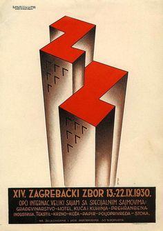 Plakat za XIV. zagrebački zbor.Božidar Kocmut Zagreb, 1930. offset 28 x 20 cm MUO 8310/01
