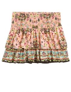 Printed Tiered Smocked Waist Skirt | Justice