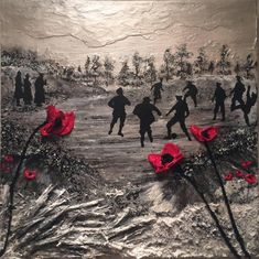 Christmas Truce Centenary Remembrance Day War Poppy Art Painting by Jacqueline Hurley Christmas Truce, Christmas Poster, Remembrance Day Poppy, Ww1 Art, Original Art, Original Paintings, Military Art, Military Humour, World War One
