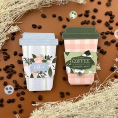 """Coffee Cup gift card holders featuring """"Coffee & Friends"""" by Lydia Cost for #EchoParkPaper Friends In Love, Gifts For Friends, Echo Park Paper, Fun At Work, Card Holders, Coffee Cups, Handmade Jewelry, Crafty, Cards"""