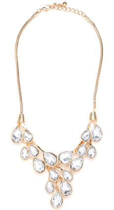 16 great New Year's Eve necklaces: Here, gold dewdrop bib necklace at Bauble Bar
