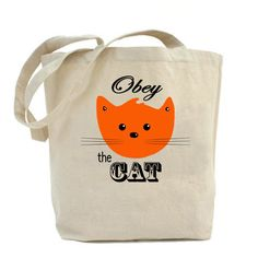 Small Size Obey the Cat Tote Bag Orange Cat Valentine's Day Gift Ideas for Pet Lovers Eco-Friendly Cotton Canvas Tote Bag Cat Gifts